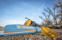 Winter stand up expedition paddling. KERSEY, CO, USA - JANUARY 29, 2017: Winter stand up expedition paddling on the South Platte RIver in eastern Colorado - All Stock Image