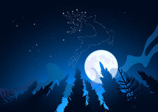 Winter Star Constellations. A Clear moonlit winter sky reveals star constellations including a reindeer. Vector illustration Stock Images