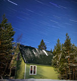 Winter starry nightscape Royalty Free Stock Photos