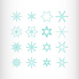 Winter stars and snowflakes. For creation of New Year's artistic compositions, postcards, posters, backdrops. Set of 16 items Royalty Free Stock Photos