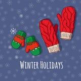 Winter stellte mit handdrawn Handschuhen in den hellen Farben ein Stockfotografie