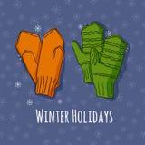 Winter stellte mit handdrawn Handschuhen in den hellen Farben ein Lizenzfreies Stockbild