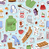 Winter stickers seamless pattern vector illustration. Royalty Free Stock Photography