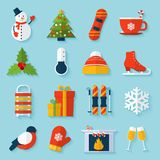 Winter stickers set. With snowman christmas tree snowboard cup isolated vector illustration Stock Photography