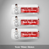 Winter stickers with snowman. Vector design elements Royalty Free Stock Image