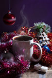 Winter still life with coffee Stock Photos