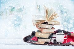 Winter still life: cup of coffee and opened book. Cup of hot coffee and opened book on plaid against fantasy snow landscape. Winter holidays and hristmas time Royalty Free Stock Photo
