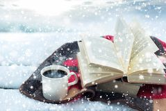 Winter still life: cup of coffee and opened book. Cup of hot coffee and opened book on plaid against snow landscape. Winter holidays and hristmas time concept stock photo