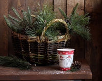 Winter still life with fir-tree and pine branches. Winter still life with fir-tree and pine branches, a paper glass with tea and the cone against a dark Stock Images