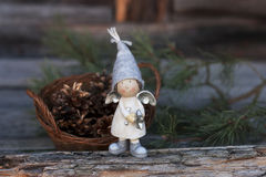 Winter still life with gnome Stock Images