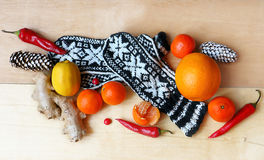 Winter still life with knitted mittens, ginger Royalty Free Stock Images