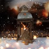 Winter still life with a lantern Royalty Free Stock Photo