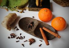 Still life - tangerines and spice - ginger, cloves, star aniseed, black pepper and cinnamon arranged on a wooden bowl. Winter still life - tangerines and spice royalty free stock images