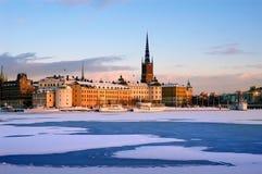 Winter in Stockholm mit Schnee Stockbild