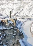 Winter stone cross on the mountain. Moldova. Stock Photography