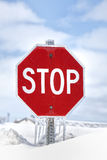 Winter Stop Sign Royalty Free Stock Images