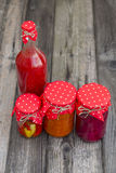 Winter stores in jars. Preparations for the winter vegetable canning jars. Winter stores in jars Stock Image
