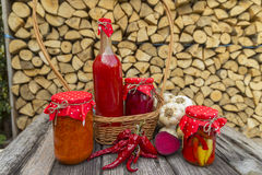 Winter stores in jars. Preparations for the winter vegetable canning jars. Winter stores in jars Royalty Free Stock Image