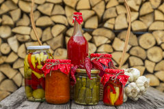 Winter stores in jars. Preparations for the winter vegetable canning jars. Winter stores in jars Royalty Free Stock Images