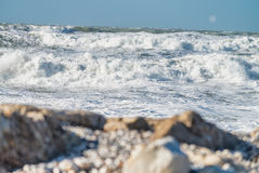 Winter storm against the beach. Waves and wind Royalty Free Stock Photography