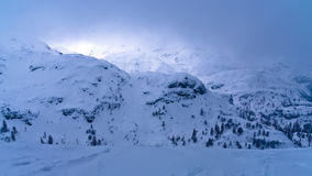 Winter storm is coming quickly, mount Vogel, Slovenian Alps Stock Photography