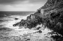 Winter Storm, Crown Engine Houses, Botallack, Cornwall royalty free stock photography