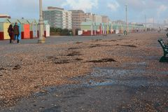 Winter Storm damage on Brighton promenade Royalty Free Stock Photos