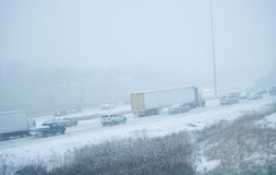 Winter Storm on Highway. Winter Storm on the Highway. Winter Season on the Road. Chicago, Illinois, USA. Transportation Photo Collection Stock Photos