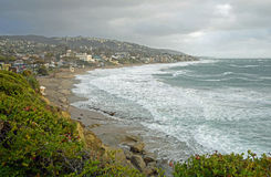 Winter storm at Main Beach in Laguna Beach, California. Royalty Free Stock Images