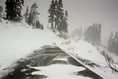 Winter Storm on Mountain Road Royalty Free Stock Photo