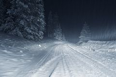 Winter Storm at Night. Colorado Winter Storm at Night. Country Road Covered by Heavy Snow Royalty Free Stock Photography