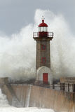 Winter storm on the old lighthouse. With huge sea waves, Portugal Royalty Free Stock Photography