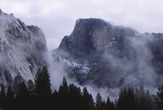 Winter storm over Half Dome in Yosemite Stock Images