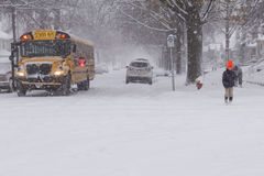 Winter Storm School Bus Stop Crossing Stock Images
