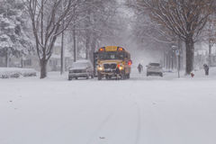 Winter Storm School Bus Stop Stock Photography