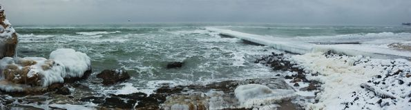 Winter  storm seascape Stock Photo
