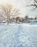 Winter Storm with Snow on Roads Stock Image