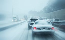 Winter Storm Traffic. I-294 Chicago Highway During Snow Storm. Heavy Snowfall and Heavy Traffic Royalty Free Stock Photo