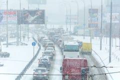 Winter storm traffic Stock Photo