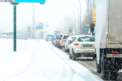 Winter storm traffic Royalty Free Stock Images