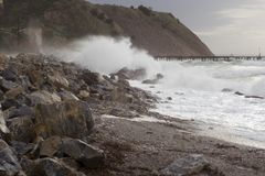 Winter Storms, Rapid Bay Jetties, Fleurieu Peninsula. Winter storms blowing in with large swells at Rapid Bay Jetties, Fleurieu Peninsula, South Australia Royalty Free Stock Image