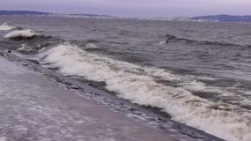 Winter stormy waves on lake stock video