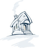 Winter story house. Illustration of a stylized winter house with a porch, two windows and made of brick Royalty Free Stock Photography