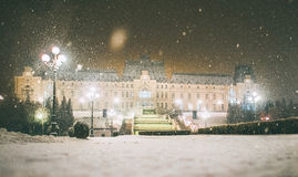 Winter story from Iasi,Romania. The Palace of Culture Romanian: Palatul Culturii is an edifice located in Iasi, Romania. The building served as Administrative Royalty Free Stock Photo