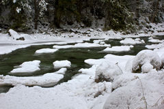 Winter Stream. A stream in winter, covered in snowfall and ice Stock Image