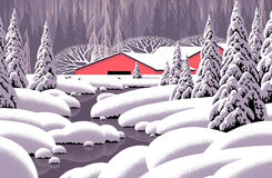 Winter Stream & Red Barn stock illustration