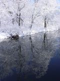 Winter Stream Reflection. The quiet calm after a winter snow caught in the reflection of the stream Stock Photo