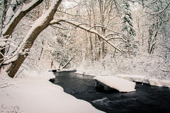 Winter Stream. Winter time snow in Canada Royalty Free Stock Images