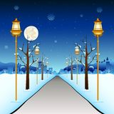 Winter Street. Illustration of street with lamp post in winter season Royalty Free Stock Photography