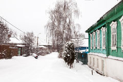 Winter street in ancient Russian city Royalty Free Stock Images